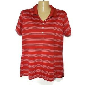 Nike Golf Red & White Striped Polo Top Size Large